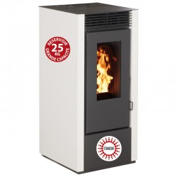 Granular stove Connected Etanche Interstoves 11Kw with Wifi Marina Blanc