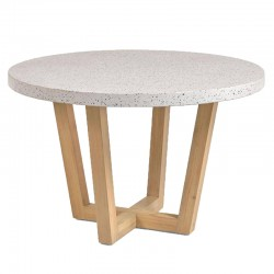 Table ronde Terrazzo blanc et bois d'acacia 120 KosyForm