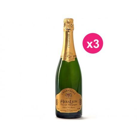 HeraLion de champagne brilho de ouro Brut Reserva (caixa de 3)